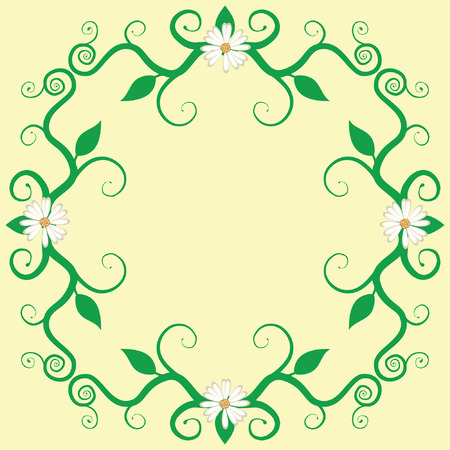 Flower Vine Frame with Daisies Vector