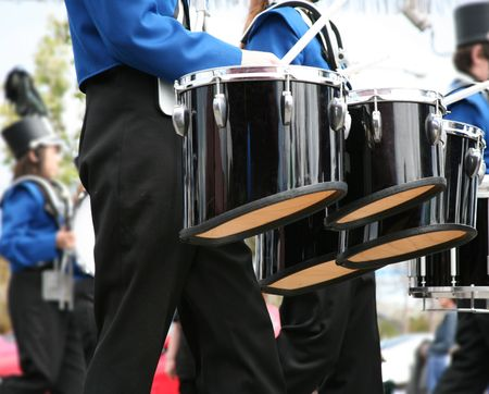 marching: Drummer in a Marching Band in parade