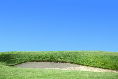 Golf Course Greens Sand Trap Clear Blue Sky photo
