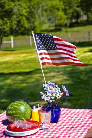 picnic cloth: Old Fashioned Picnic with Red and White Checkered Tablecloth Stock Photo