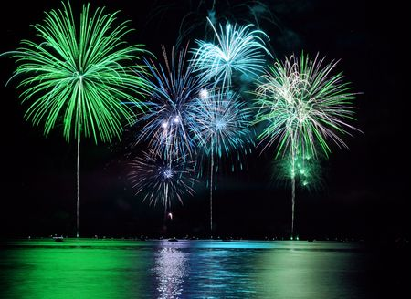 new year's day: Colorful Fireworks for the Grand Finale over Lake