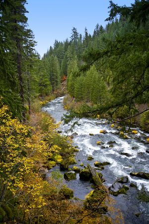 Wild and Scenic Rogue River in Southern Oregon in Fall Stock Photo