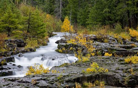 Scenic Rogue River Gorge in Southern Oregon in Fall