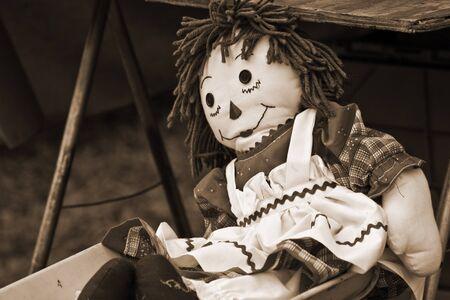 raggedy: Old Raggedy Ann Doll in sepia tone