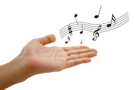 音楽と手 写真素材