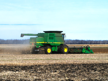 GRYGLA, MINNESOTA - NOVEMBER 2, 2018: John Deere Combine harvesting field of soybeans for food and other products. John Deere is a brand of agricultural, construction and forestry machinery.