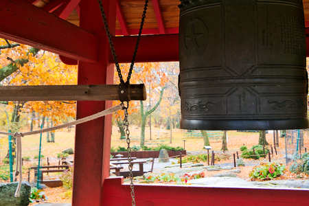 Duluth, MN - October 26, 2018 : Peace bell located in Enger Park is copy of ancient bell in Ohara, Japan.