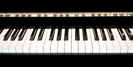 Piano keys close up with black and white keyboard with space for copy.