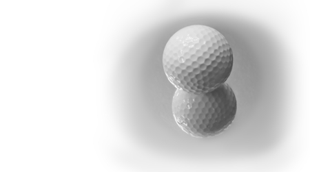 Close up the new white golf ball with the reflection, sport concept. Space for copy.