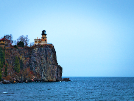 Split Rock Lighthouse on the north shore of Lake Superior near Duluth and Two Harbors, Minnesota Stok Fotoğraf