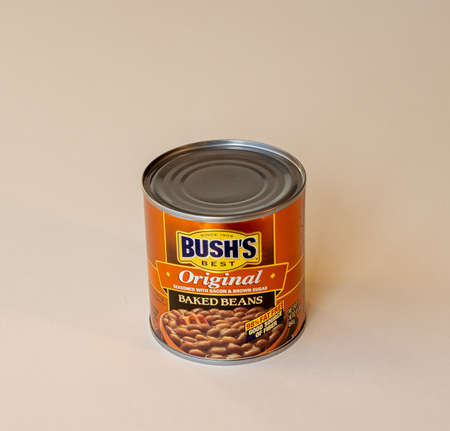 BEMIDJI, MN - 17 NOV 2020: Can of Bushs baked bean on the table. Bush's Brothers and Company was founded in 1908 and produces 80 percent of the baked beans consumed in the United States.