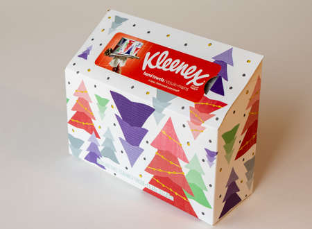 BEMIDJI, MN - 17 NOV 2020: Box of Kleenex paper disposable hand towels with Christmas trees.. Kleenex is an American Tissue and paper product company established in 1924