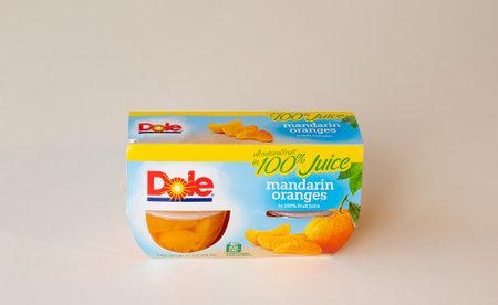 BEMIDJI, MN - 17 NOV 2020: Package of Dole mandarin oranges in 100 percent juice.