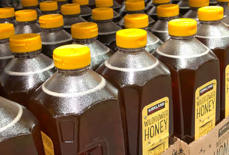 BAXTER, MN - 3 FEB 2021: Costco Kirkland brand of Wildflower Honey in bottles with yellow tops, on display for sale in retail member warehouse store.