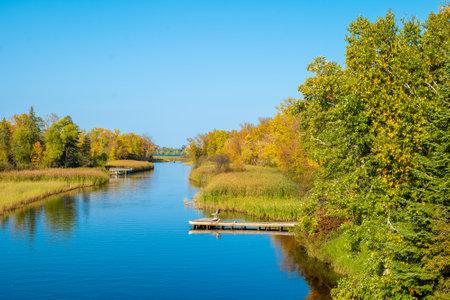 Mississippi River in Bemidji Minnesota in beautiful autumn landscape scene.