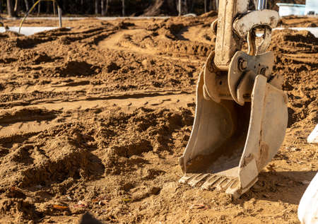 Backhoe scoop shovel attachment, used on backhoe for moving soil or dirt.