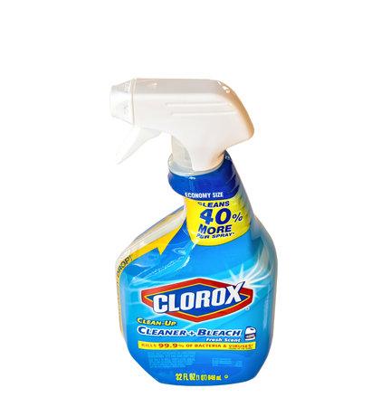 BEMIDJI, MN - 17 NOV 2020: Spray bottle Clorox Disinfecting Bleach Cleaner. 에디토리얼