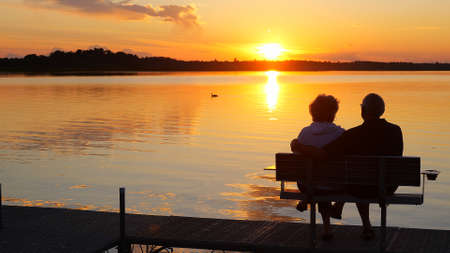 Couple on bench enjoy lake sunset as a Canada goose swims on water.