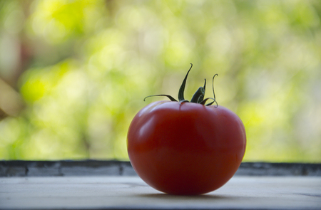 A ripe, red tomato on a wood cutting board by the window towards a green, fresh bokeh Stock Photo
