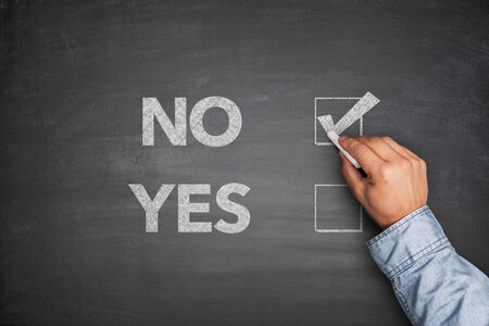Yes or No, two choices written on the blackboard photo