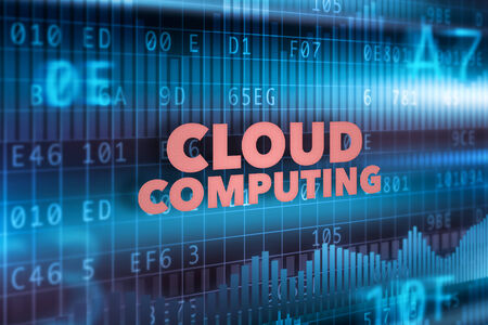 Cloud computing technology concept blue background photo