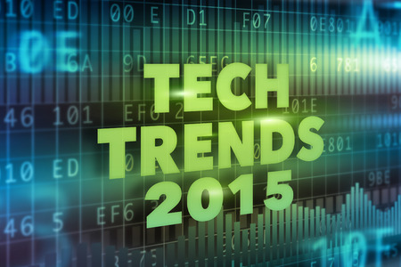 Tech Trends 2015 concept green text photo