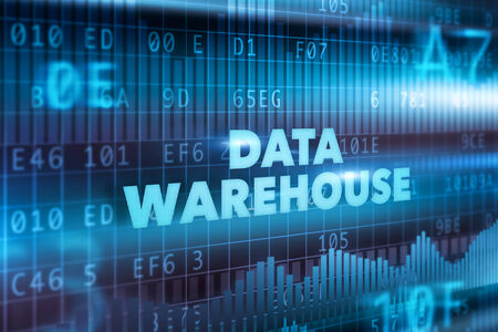 Data warehouse technology concept blue text photo