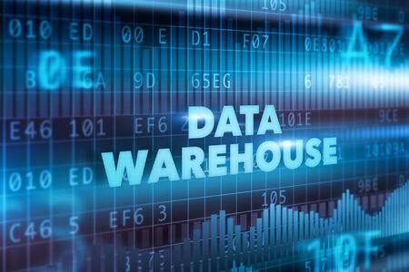 Data warehouse technology concept blue text Stock Photo