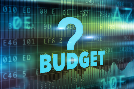 Budget concept blue green background blue text photo