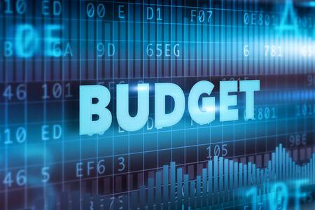 Budget concept blue background blue text photo