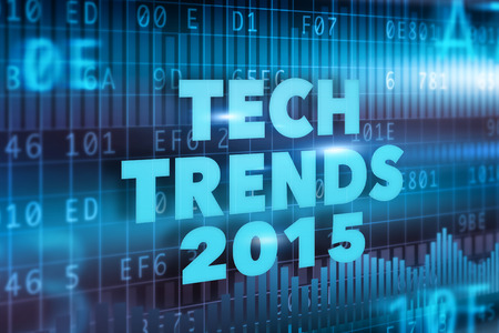 Tech Trends 2015 concept with blue text photo