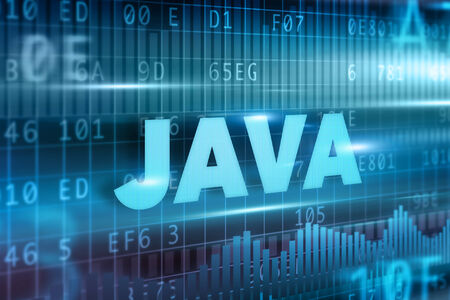 Java concept blue background with blue text photo