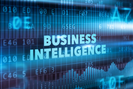 Business intelligence technology concept with blue text photo