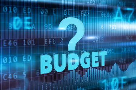 Budget concept blue background with blue text photo