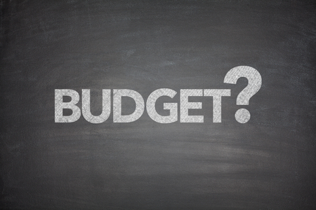 Budget with question mark on black Blackboard photo