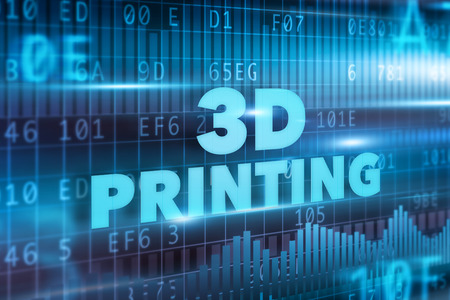 rapid prototyping: 3D printing concept blue text blue background Stock Photo
