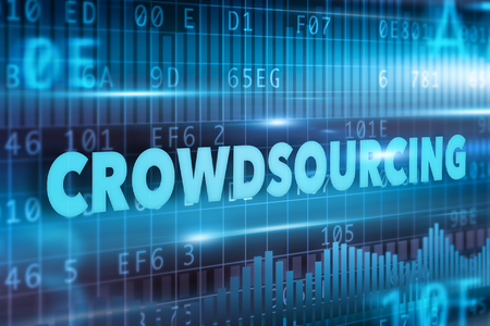 crowd sourcing: Crowdsourcing concept with blue text blue background