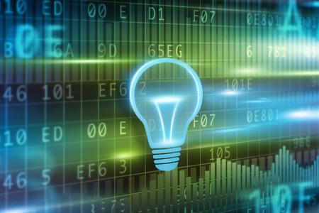 energia electrica: Concepto del fondo de la bombilla con bombilla de luz azul Foto de archivo
