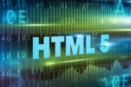 html 5: HTML 5 blue text concept on blue background Stock Photo