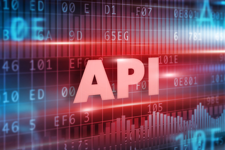 api: API concept red background with red text
