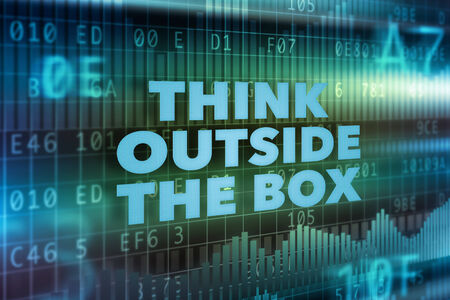 outside box: Think outside the box technology concept Stock Photo