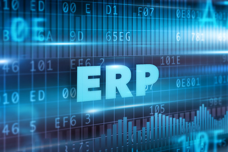 ERP concept blue background and blue text photo
