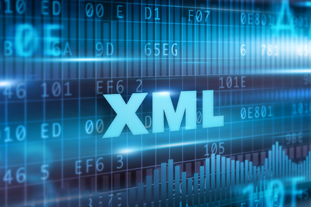 extensible: XML concepto abstracto texto azul de fondo azul Foto de archivo