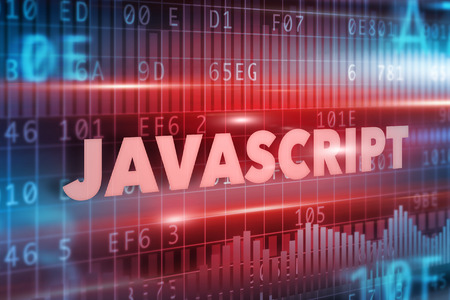 javascript: Javascript concept blue background with blue text