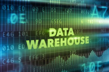 data warehouse: Concepto de tecnolog�a de almacenamiento de datos con el texto verde Foto de archivo