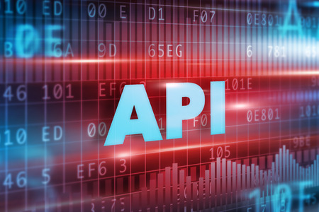 api: API concept red background with blue text Stock Photo