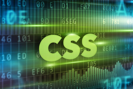 css: CSS concept green background with green text Stock Photo