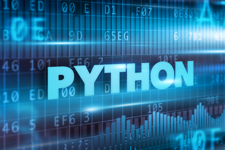 Python concept blue background with blue text photo