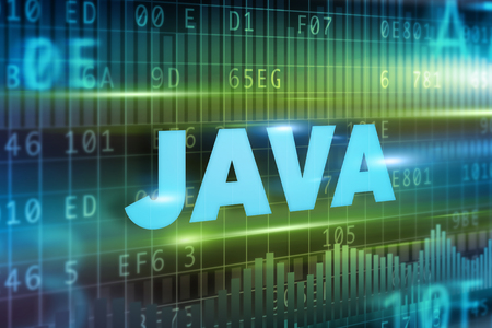 java: Java concept green background with blue text Stock Photo