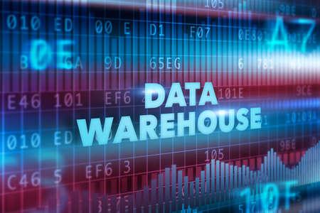 data warehouse: Concepto de tecnolog�a de almacenamiento de datos con el texto azul Foto de archivo